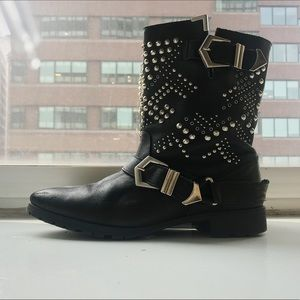 Zara Studded black biker boots